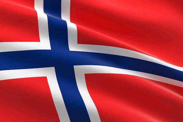 Vlag van noorwegen. 3d-afbeelding van de noorse vlag zwaaien