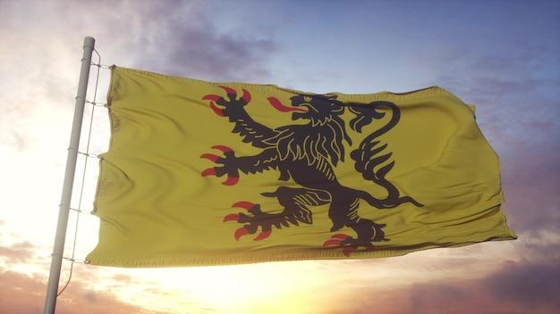 Vlag van nord-pas-de-calais, frankrijk, zwaaiend in de wind, lucht en zon achtergrond. 3d-rendering