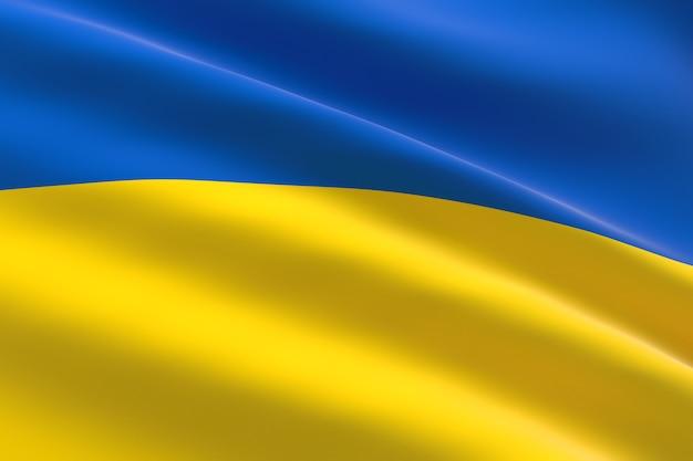 Vlag van oekraïne. 3d-afbeelding van de oekraïense vlag zwaaien