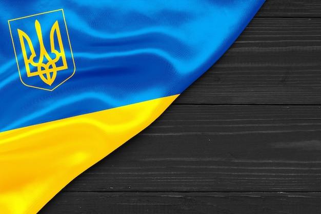 Vlag van oekraïne met drietand kopie ruimte