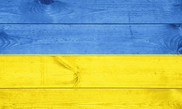 Vlag van oekraïne op houten achtergrond