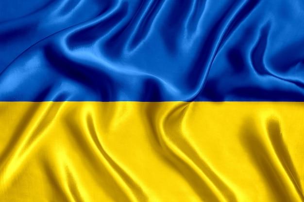 Vlag van oekraïne zijde close-up