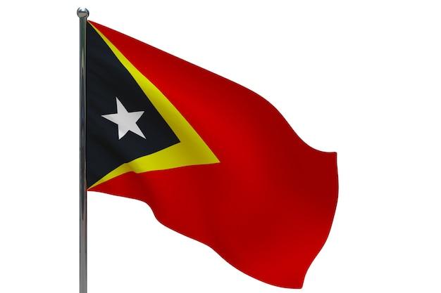 Vlag van oost-timor op paal. metalen vlaggenmast. nationale vlag van oost-timor 3d illustratie op wit