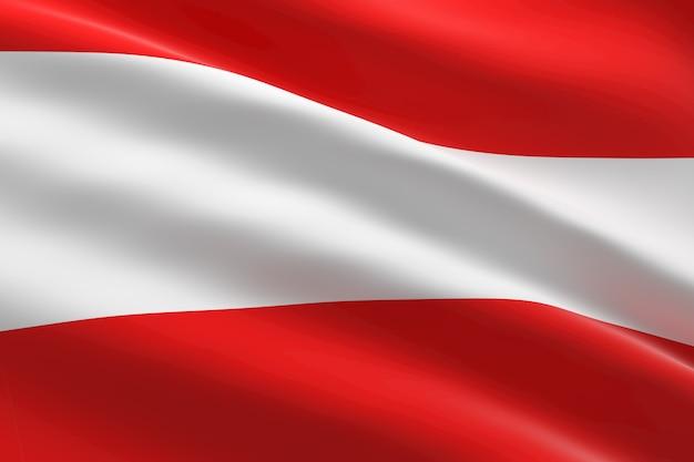 Vlag van oostenrijk 3d-afbeelding van de oostenrijkse vlag zwaaien