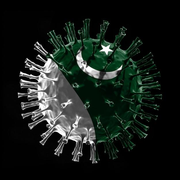 Vlag van pakistan op covid-19 is een virusconcept. 3d-weergave