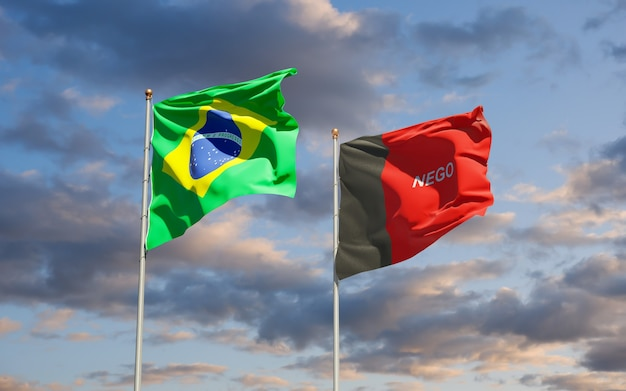 Vlag van paraiba, brazilië. 3d-illustraties