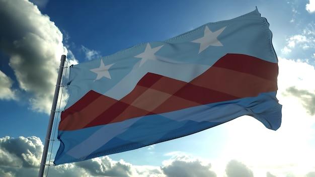 Vlag van peoria, stad van arizona, verenigde staten, zwaaiend op wind. 3d-rendering
