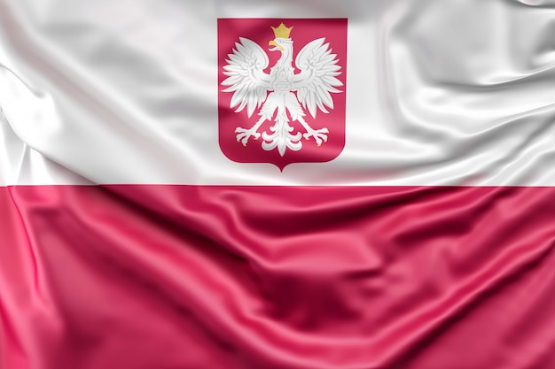 Vlag van polen met wapenschild