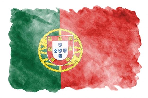 Vlag van portugal wordt afgebeeld in vloeibare aquarelstijl geïsoleerd op wit