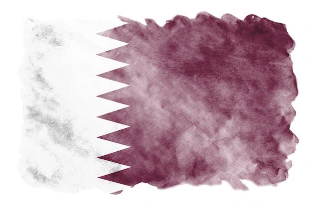 Vlag van qatar wordt afgebeeld in vloeibare aquarelstijl geïsoleerd op wit