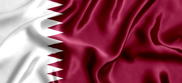 Vlag van qatar zijde close-up