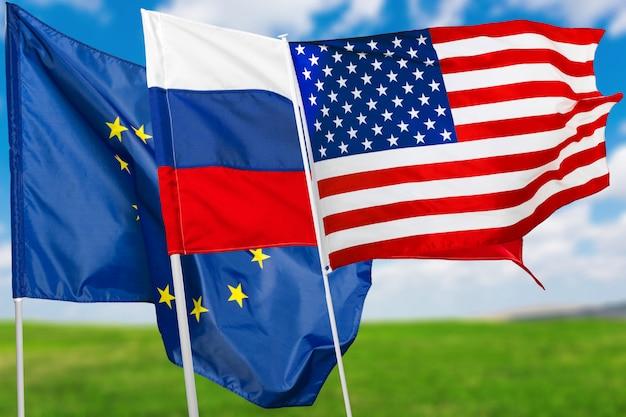 Vlag van rusland, de vs en de eu