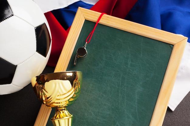 Vlag van rusland met voetbal