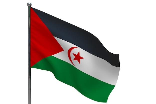 Vlag van sahrawi arabische democratische republiek op paal. metalen vlaggenmast. nationale vlag van sahrawi arabische democratische republiek 3d illustratie op wit