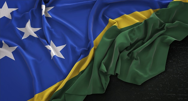 Vlag van salomon eilanden gerimpeld op donkere achtergrond 3d render
