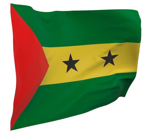 Vlag van sao tomé en principe geïsoleerd. zwaaiende banner. nationale vlag van sao tomé en principe