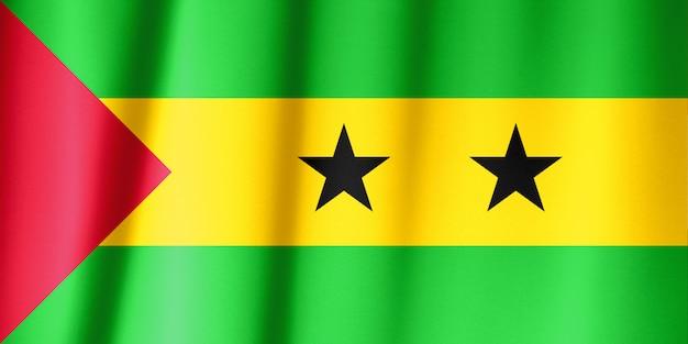 Vlag van sao tomé en principe zwaaien. nationale vlag van sao tomé en principe voor de dag van de onafhankelijkheid.