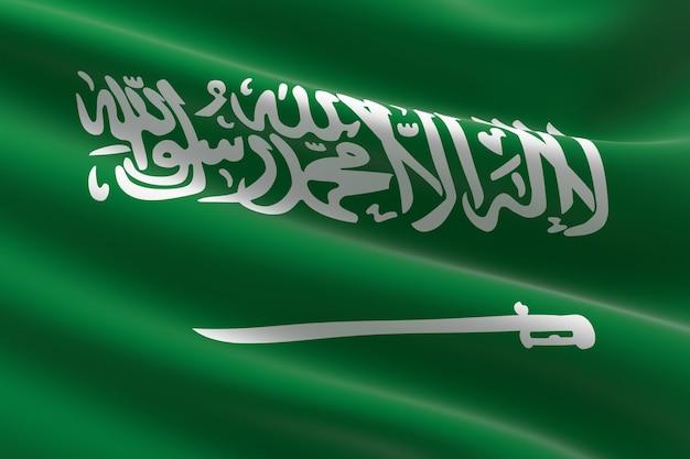 Vlag van saoedi-arabië. 3d-afbeelding van de saoedische vlag zwaaien.