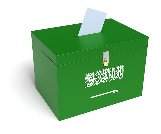 Vlag van saoedi-arabië stembus. geïsoleerde witte achtergrond. 3d-rendering