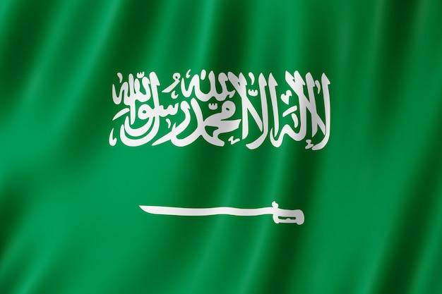 Vlag van saoedi-arabië zwaaien in de wind.