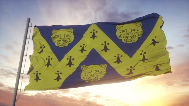 Vlag van shropshire, engeland, zwaaiend in de wind, lucht en zon achtergrond. 3d-rendering
