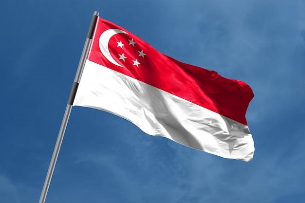 Vlag van singapore zwaaien