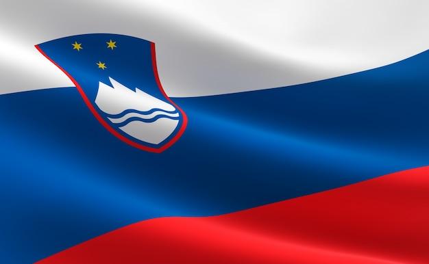 Vlag van slovenië. illustratie van de sloveense vlag zwaaien.