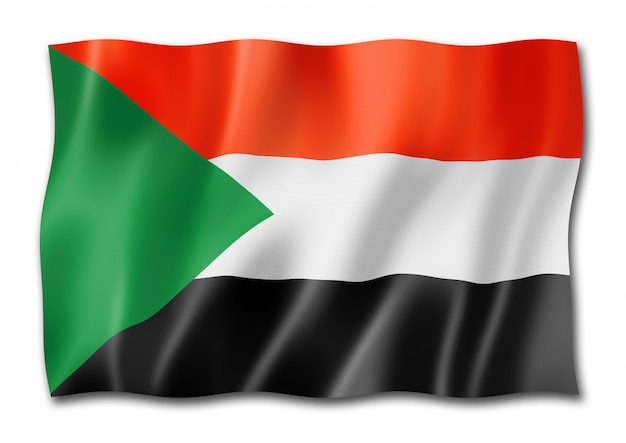 Vlag van soedan geïsoleerd op wit