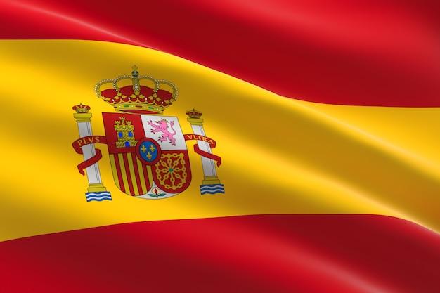 Vlag van spanje. 3d-afbeelding van de spaanse vlag zwaaien
