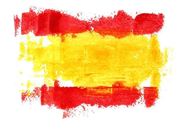 Vlag van spanje door penseelstreken geïsoleerd op de witte achtergrond