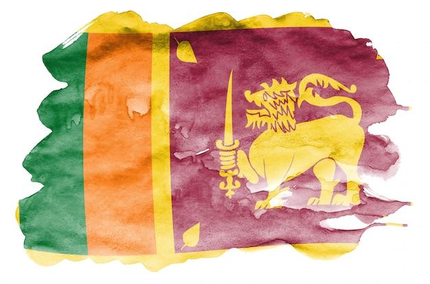 Vlag van sri lanka wordt afgebeeld in vloeibare aquarelstijl geïsoleerd op wit