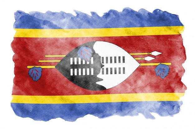 Vlag van swaziland wordt afgebeeld in vloeibare aquarelstijl geïsoleerd op wit