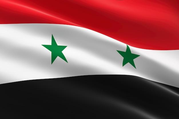 Vlag van syrië. 3d-afbeelding van de syrische vlag zwaaien