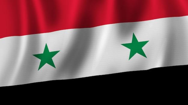Vlag van syrië zwaaien close-up 3d-rendering met afbeelding van hoge kwaliteit met stof textuur