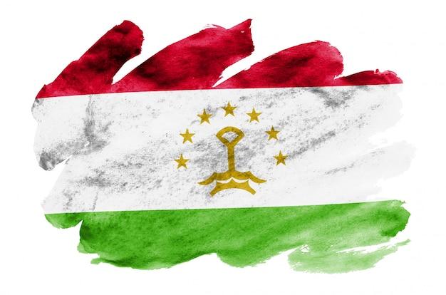 Vlag van tadzjikistan wordt afgebeeld in geïsoleerde vloeibare aquarelstijl