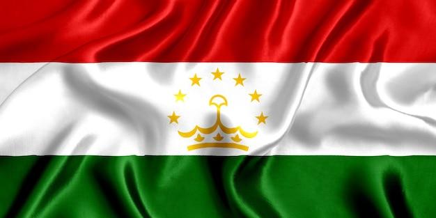 Vlag van tadzjikistan zijde close-up
