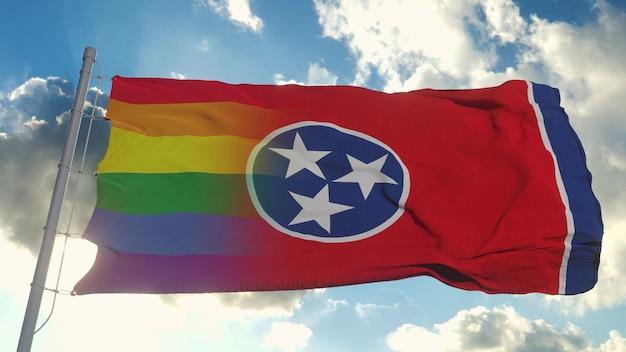 Vlag van tennessee en lgbt. tennessee en lgbt gemengde vlag zwaaien in de wind. 3d-rendering.