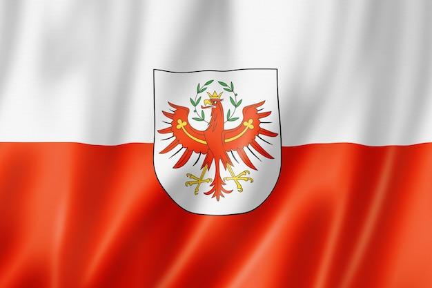 Vlag van tirol land, oostenrijk zwaaiende banner collectie. 3d illustratie