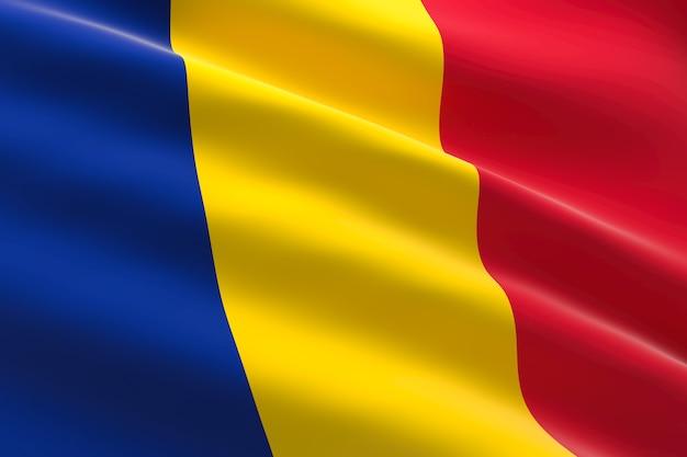 Vlag van tsjaad 3d-afbeelding van de tsjaadse vlag zwaaien
