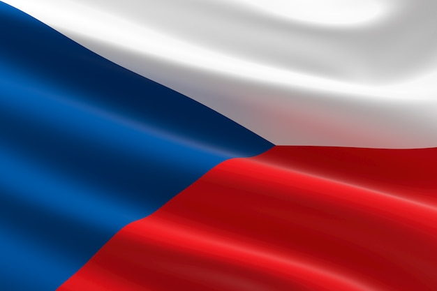 Vlag van tsjechië. 3d-afbeelding van de tsjechische vlag zwaaien.