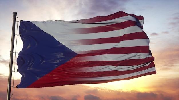 Vlag van tsjechië en de vs op vlaggenmast. vs en tsjechië vlag zwaaien in de wind