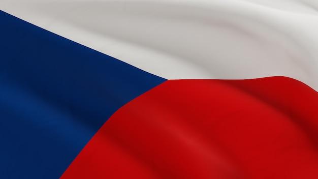 Vlag van tsjechië zwaaien in de wind, stof micro textuur in 3d kwaliteit renderen