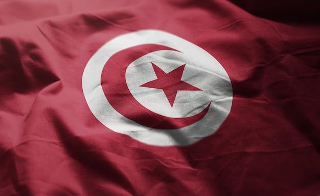 Vlag van tunesië verkreukelde close-up