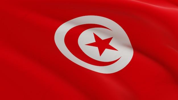 Vlag van tunesië zwaaien in de wind, stof micro textuur in 3d kwaliteit renderen