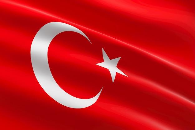 Vlag van turkije. 3d-afbeelding van de turkse vlag zwaaien