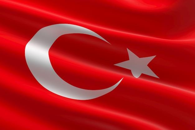 Vlag van turkije. 3d illustratie van de turkse vlag zwaaien.