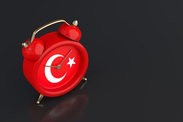 Vlag van turkije en vintage wekker. 3d-rendering
