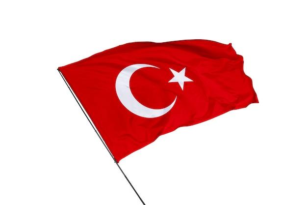 Vlag van turkije op een witte achtergrond
