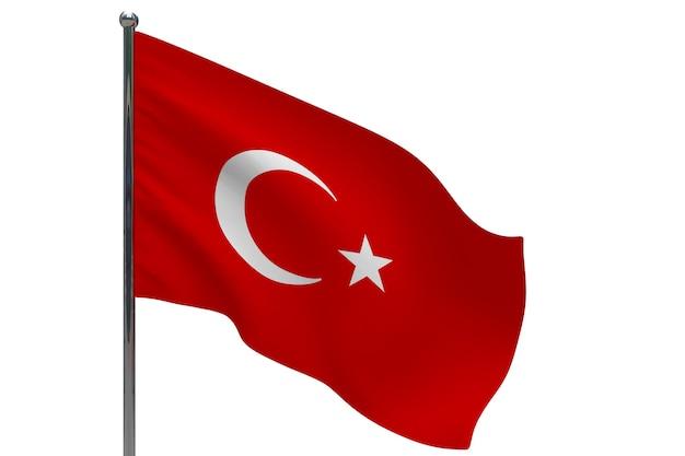 Vlag van turkije op paal. metalen vlaggenmast. nationale vlag van turkije 3d illustratie op wit