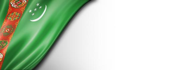 Vlag van turkmenistan geïsoleerd op wit. horizontale panoramische banner.